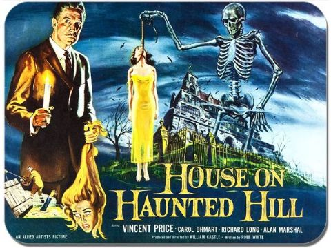 House on Haunted Hill Vintage Film Poster Mouse Mat Vincent Price Movie Mousepad